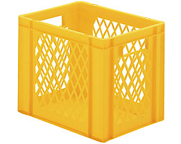 Euro-Format-Stapelbehälter, Wände durchbrochen, Boden geschlossen - LxBxH 400 x 300 x 320 mm - gelb, VE 5 Stk