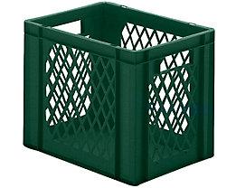 Euro-Format-Stapelbehälter, Wände durchbrochen, Boden geschlossen - LxBxH 400 x 300 x 320 mm - grün, VE 5 Stk