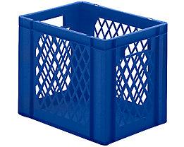 Euro-Format-Stapelbehälter, Wände durchbrochen, Boden geschlossen - LxBxH 400 x 300 x 320 mm - blau, VE 5 Stk