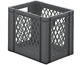 Euro-Format-Stapelbehälter, Wände durchbrochen, Boden geschlossen - LxBxH 400 x 300 x 320 mm - grau, VE 5 Stk