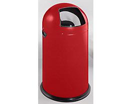 Push-Abfallsammler - aus Stahlblech, Volumen 40 Liter - feuerrot