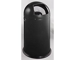 Push-Abfallsammler - aus Stahlblech, Volumen 40 Liter - tiefschwarz