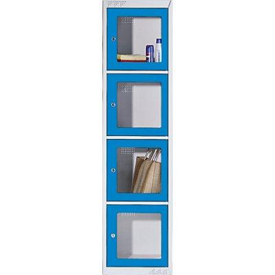 QUIPO Stahlschrank - 4 Fächer mit Fenster