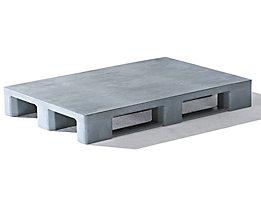EURO-Kunststoffpalette - ohne Rand, Oberdeck geschlossen - grau, ab 10 Stk