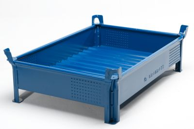 Heson Stapelbehälter aus Stahlblech, niedrige Bauform, Wände geschlossen - BxL 800 x 1000 mm, Füllhöhe 200 mm