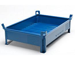 Heson Stapelbehälter aus Stahlblech, niedrige Bauform, Wände geschlossen - BxL 800 x 1000 mm, Füllhöhe 200 mm - Traglast bis 2000 kg, ab 5 Stk