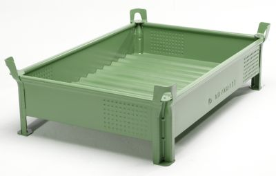 Heson Stapelbehälter aus Stahlblech, niedrige Bauform, Wände geschlossen - BxL 800 x 1200 mm, Füllhöhe 200 mm