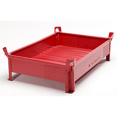 Heson Stapelbehälter aus Stahlblech, niedrige Bauform, Wände geschlossen - BxL 800 x 1200 mm, Traglast 1000 kg