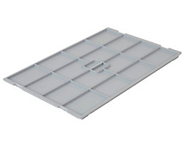 VECTURA Deckel aus Polypropylen - für Behälter-LxB 600 x 400 mm - grau, für 52 l