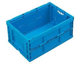 Faltbox aus Polypropylen - Inhalt 54 l - mit anscharniertem Deckel, blau