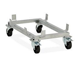 CEMO Fahrgestell für GfK-Rechteckbehälter - Polypropylen-Rollen, schwarz - für LxB 872 x 571 mm, Rad-Ø 100 mm