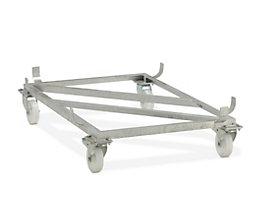 CEMO Fahrgestell für GfK-Rechteckbehälter - Polyamid-Rollen, weiß - für LxB 1620 x 1190 mm, Rad-Ø 150 mm