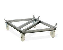 Fahrgestell für GfK-Rechteckbehälter - Polyamid-Rollen, weiß - für LxB 1820 x 1390 mm, Rad-Ø 200 mm