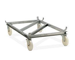 CEMO Fahrgestell für GfK-Rechteckbehälter - Polyamid-Rollen, weiß - für LxB 2108 x 1480 mm, Rad-Ø 250 mm
