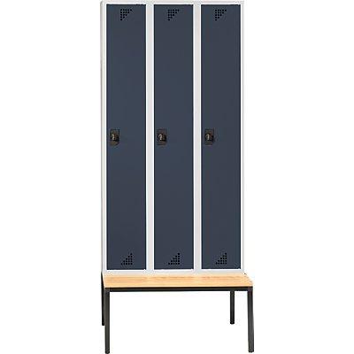 eurokraft garderobenschrank mit untergebauter sitzbank 3 abteile breite 1200 mm. Black Bedroom Furniture Sets. Home Design Ideas