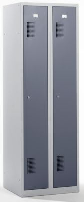 QUIPO Garderobenschrank - Breite 600 mm, 2 Abteile à 298 mm, mit Zylinderschloss