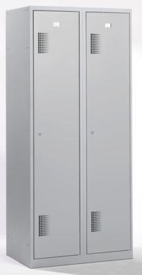 QUIPO Garderobenschrank - Breite 800 mm, 2 Abteile à 398 mm, mit Zylinderschloss