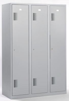QUIPO Garderobenschrank - Breite 1200 mm, 3 Abteile à 398 mm, mit Zylinderschloss