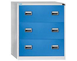office akktiv Hängeregistraturschrank - 2-bahnig, 3 Schübe - lichtgrau / lichtblau