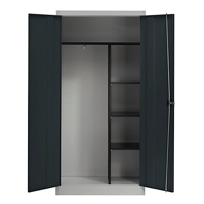 mauser armoire m tallique portes battantes 3 tablettes courtes et penderie. Black Bedroom Furniture Sets. Home Design Ideas