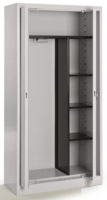Mauser Stahlschrank mit Einschwenktüren - Garderobe, 3 kurze Fachböden, Tiefe 420 mm