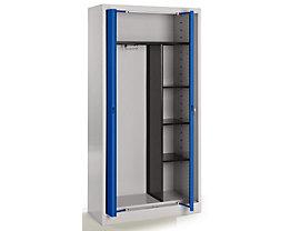 Mauser Stahlschrank mit Einschwenktüren - Garderobe, 3 kurze Fachböden, Tiefe 420 mm - lichtgrau / ultramarinblau
