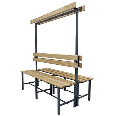 Melzer Metallbau Garderobenbank mit Hakenleiste und Holzleisten - ohne Schuhrost, beidseitig, Länge 1500 mm, 14 Haken
