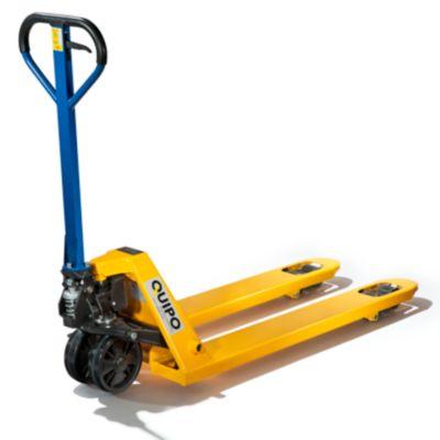 Paletthubwagen, gelb - Lenkräder Polyurethan - Lastrollen
