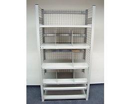 hofe Steckregal, leichte Ausführung, komplett aufgebaut - 6 Fachböden, 5 Fachteiler, Boden-BxT 1000 x 500 mm