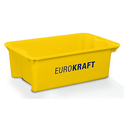 EUROKRAFT Drehstapelbehälter aus lebensmittelechtem Polypropylen - Inhalt 34 Liter, VE 3 Stk