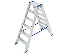 EUROKRAFT Stehleiter, beidseitig begehbar - Scharnier belastbar, Stufen profiliert - 2 x 6 Stufen, Arbeitshöhe 2600 mm