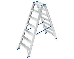 EUROKRAFT Stehleiter, beidseitig begehbar - Scharnier belastbar, Stufen profiliert - 2 x 7 Stufen, Arbeitshöhe 2810 mm