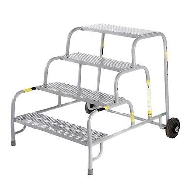 Sicherheits-Montagetritt mit Stahlgitter-Stufen - 4 Stufen, Plattformhöhe 800 mm