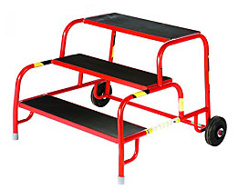 Marchepied de montage de sécurité avec marches en caoutchouc profilé - 3 marches, hauteur marche sup. 600 mm