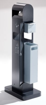 Kombiascher - Volumen Abfallsammler 8 l, Volumen Ascher 2 l - HxBxT 1000 x 200 x 150 mm