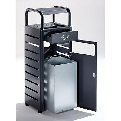 Combiné cendrier-poubelle - capacité poubelle 20 l, capacité cendrier 2,3 l - h x l x p 880 x 330 x 280 mm
