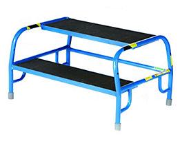 Sicherheits-Montagetritt mit Gummiprofil-Stufen - 2 Stufen, Plattformhöhe 400 mm