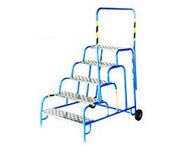 Marchepied de montage de sécurité avec marches en aluminium rainuré - 5 marches, hauteur marche sup. 1000 mm