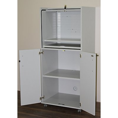 OFFICE AKKTIV Computerschrank mit Kunststoffrollladen, mobil - Premium Variante, HxBxT 1660 x 725 x 642 mm - mit verstellbarem Einlegeboden
