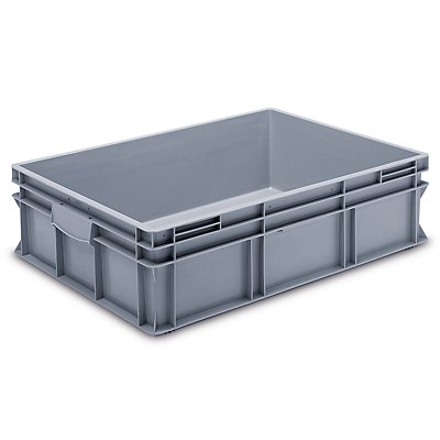 utz Euro-Stapelbehälter aus lebensmittelechtem PP - Traglast 20 kg, silbergrau