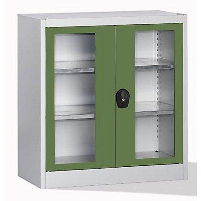 Mauser Sichtfensterschrank - mit 2 Fachböden, HxBxT 1016 x 950 x 500 mm