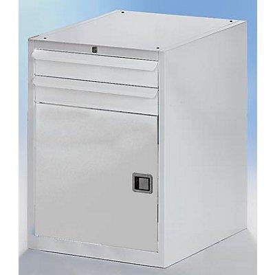 QUIPO Werkzeugschrank, BxT 600 x 600 mm - Höhe 800 mm, 2 Schubladen, 1 Tür