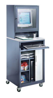 QUIPO Computer-Rollladenschrank - für Bildschirm bis 20″, fahrbar - blaugrau
