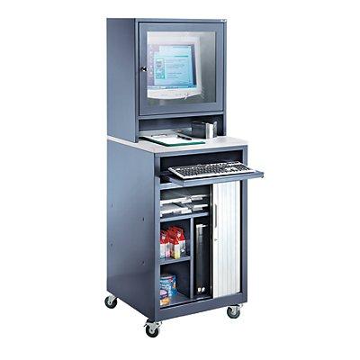 QUIPO Computer-Rollladenschrank - für Bildschirm bis 20, fahrbar - blaugrau