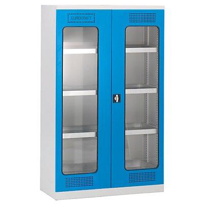 EUROKRAFT Umweltschrank - mit Sichtfenstertüren, 4 Lagerebenen