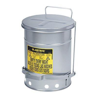 Justrite Sicherheits-Entsorgungsbehälter SoundGard™ - silber lackiert, geräuschreduziert