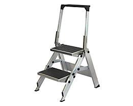 Alu-Klapptreppe - Stufen Alu mit PVC-Belag - mit Sicherheitsbügel, 2 Stufen