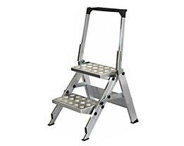 Alu-Klapptreppe - Stufen Aluminium geriffelt - mit Sicherheitsbügel, 2 Stufen