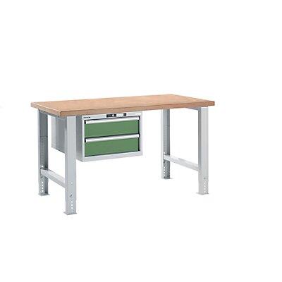 Lista Werkbank komplett, Buche-Multiplex-Arbeitsplatte - Höhe 740 – 1090 mm, Hängeschrank, 2 Schubladen