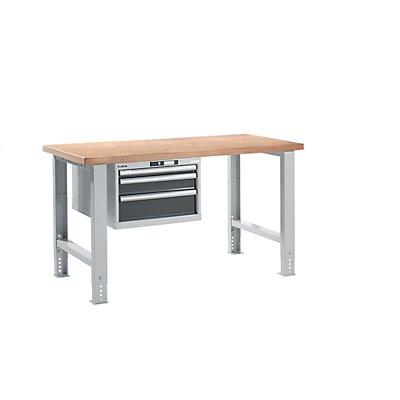 Lista Werkbank - komplett, Buche-Multiplex-Arbeitsplatte, Höhe 740 – 1090 mm, Hängeschrank, 3 Schubladen
